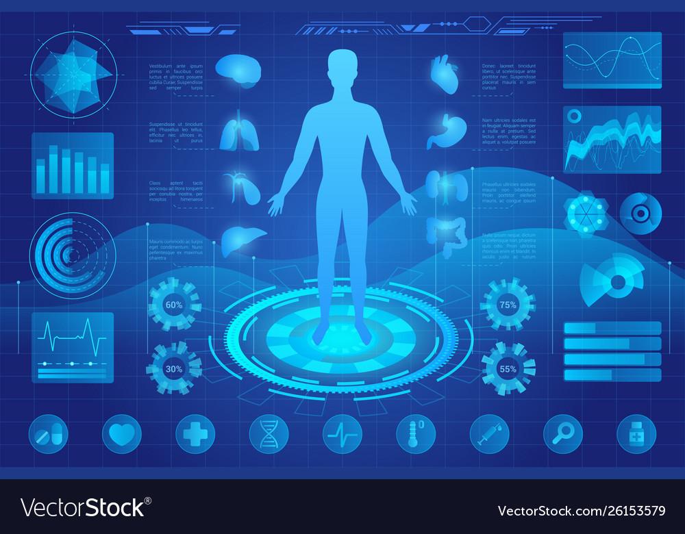 Human anatomy neon futuristic light medical