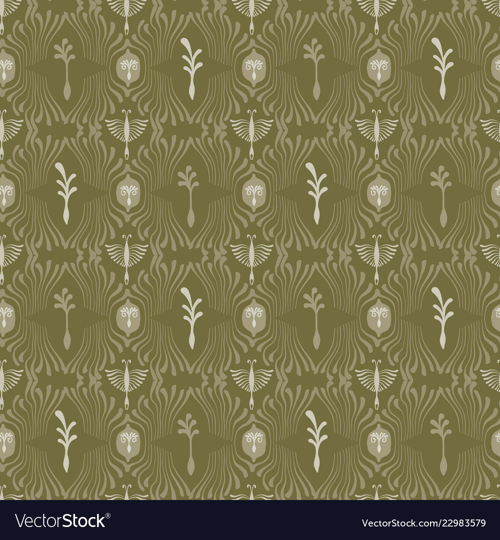 Intricate plant damask arabesque seamless