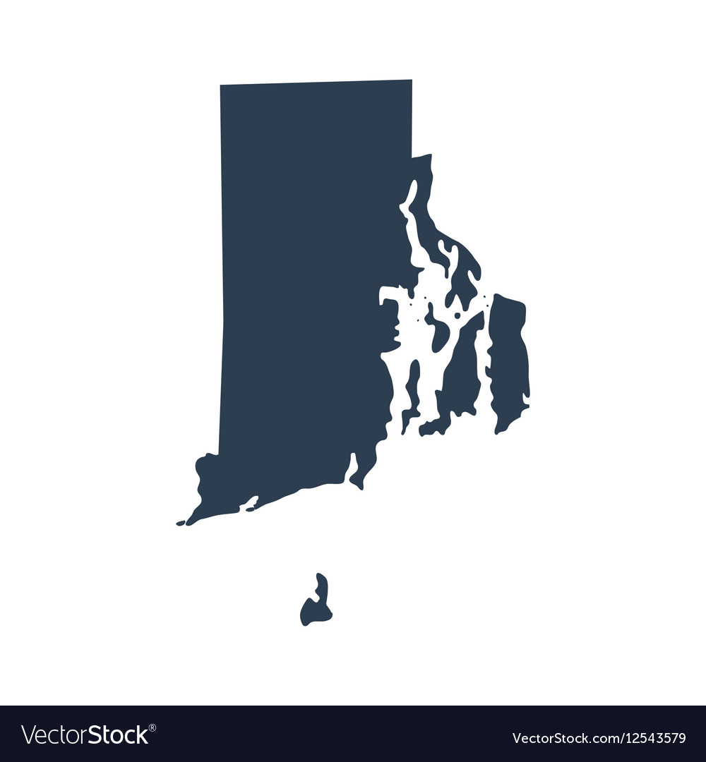 Map of the US state Rhode Island Royalty Free Vector Image