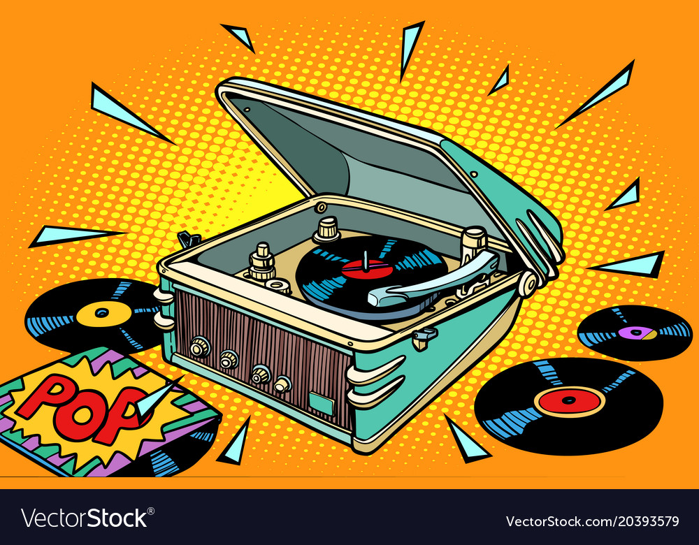 Pop music vinyl records and gramophone Royalty Free Vector