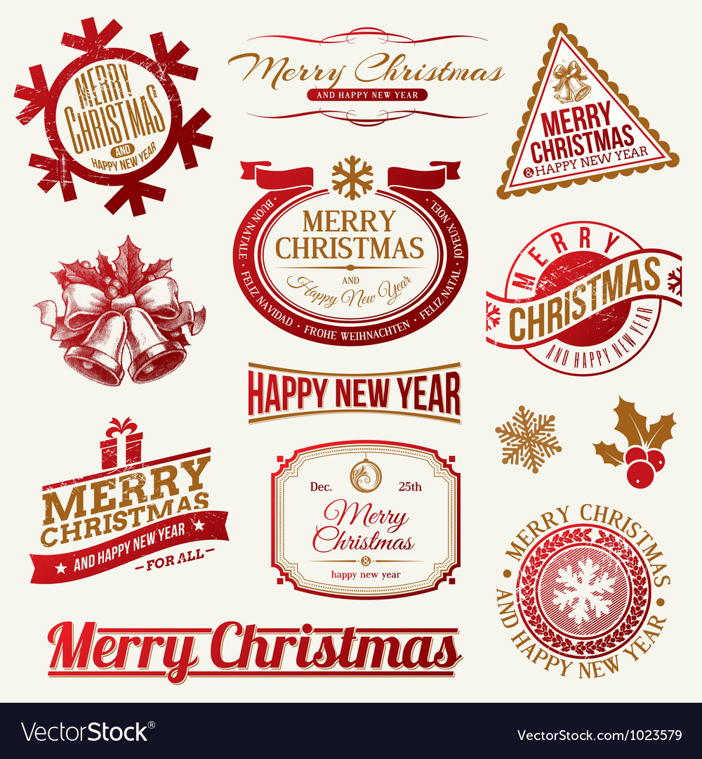 Set of decorative Christmas holidays labels