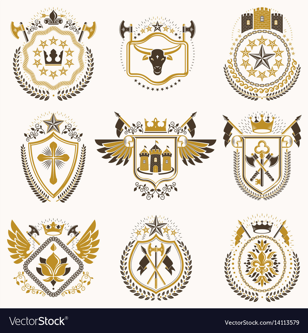 Set of luxury heraldic templates collection of