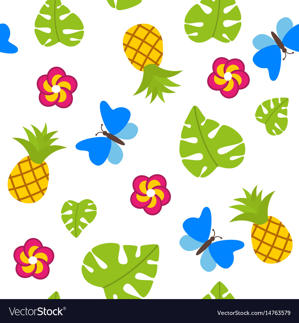 Tropical seamless pattern on white background with