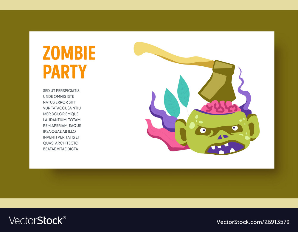 Zombie party halloween holiday monster with ax