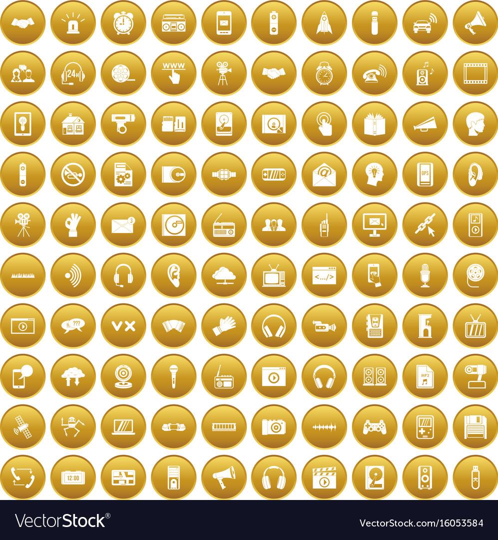 100 audio icons set gold