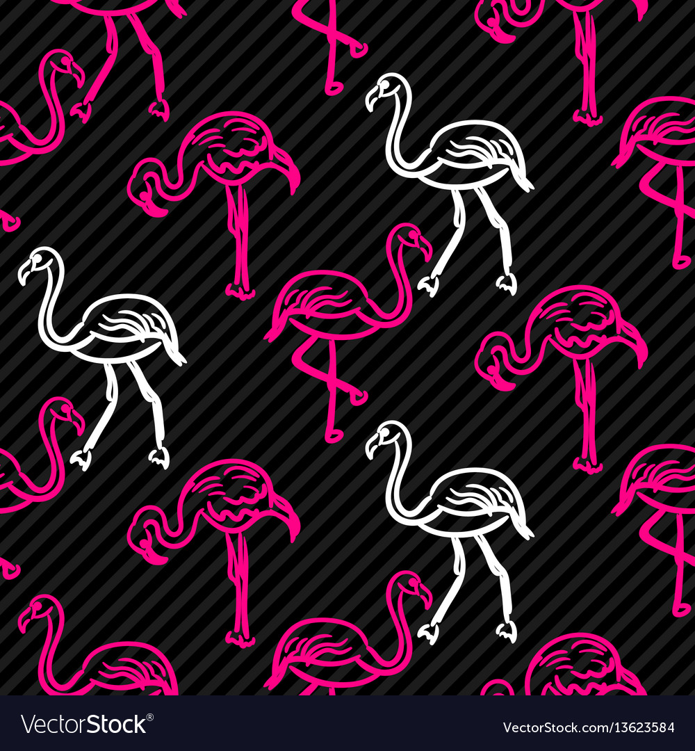 Black and pink striped flamingo bird pattern