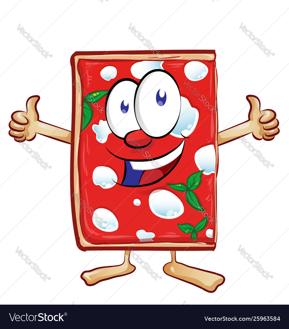 Cartoon sliced pizza margherita giving thumb up