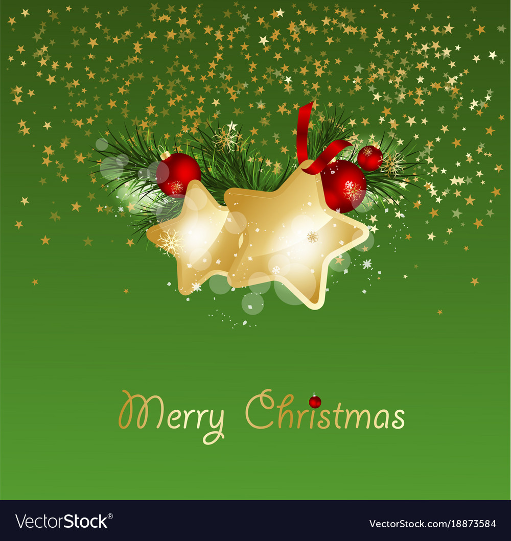 Christmas background with fir branches and gold