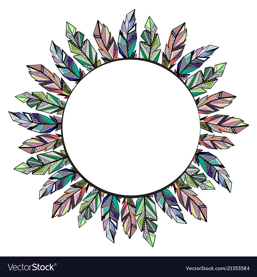Feathers circle frame background