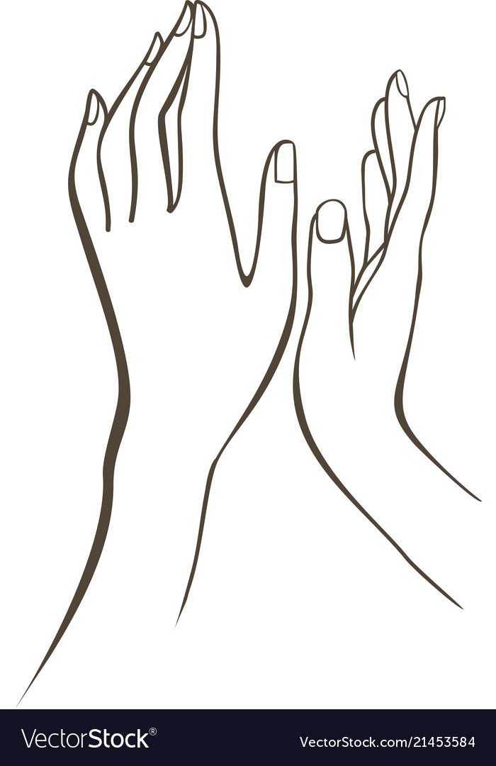 Female hands outline drawing
