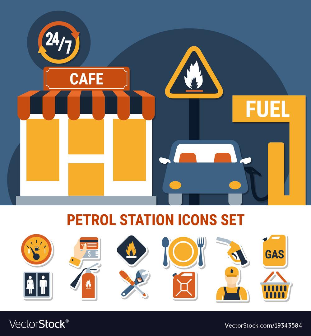 Fuel pump icon set