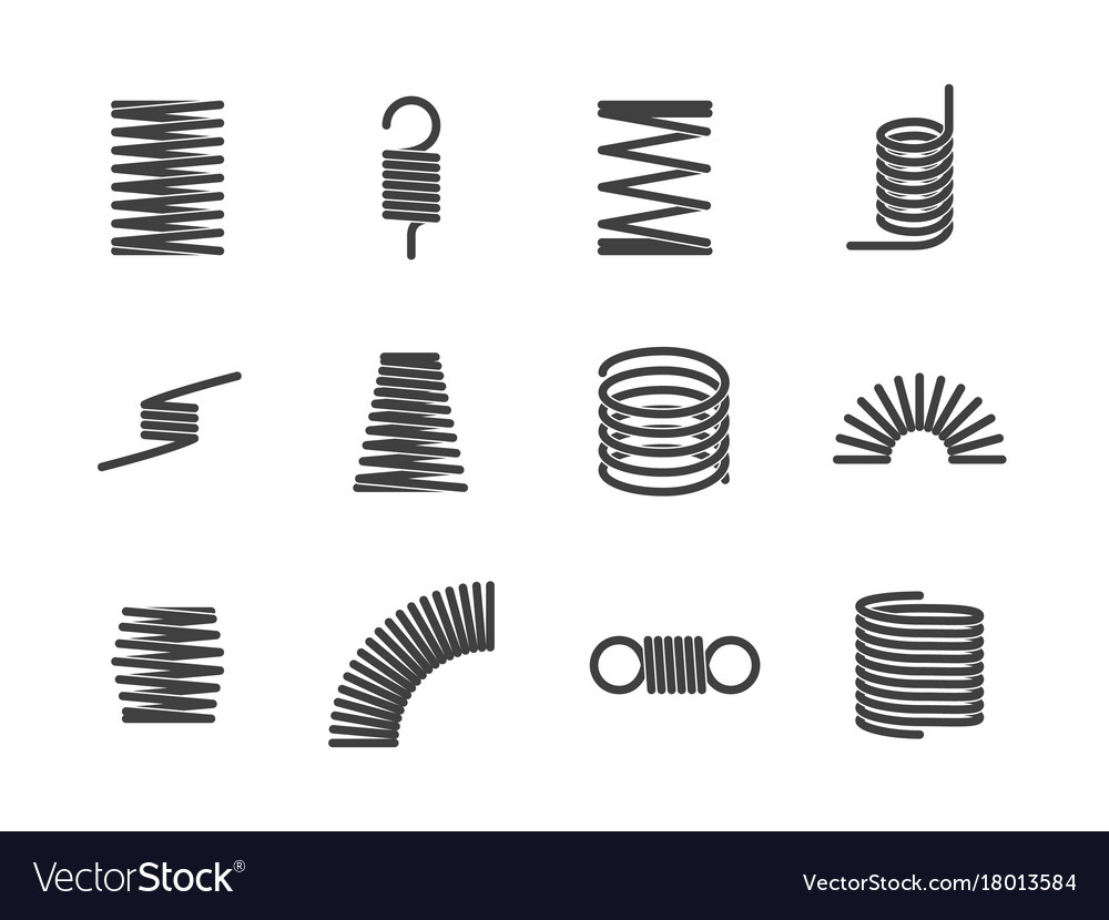 Metal Wire Spiral Center Hsh Wiring Mod To Hh Sss Alloutputcom Flexible Elastic Spring Icons I Vector Image Rh Vectorstock Com Brush