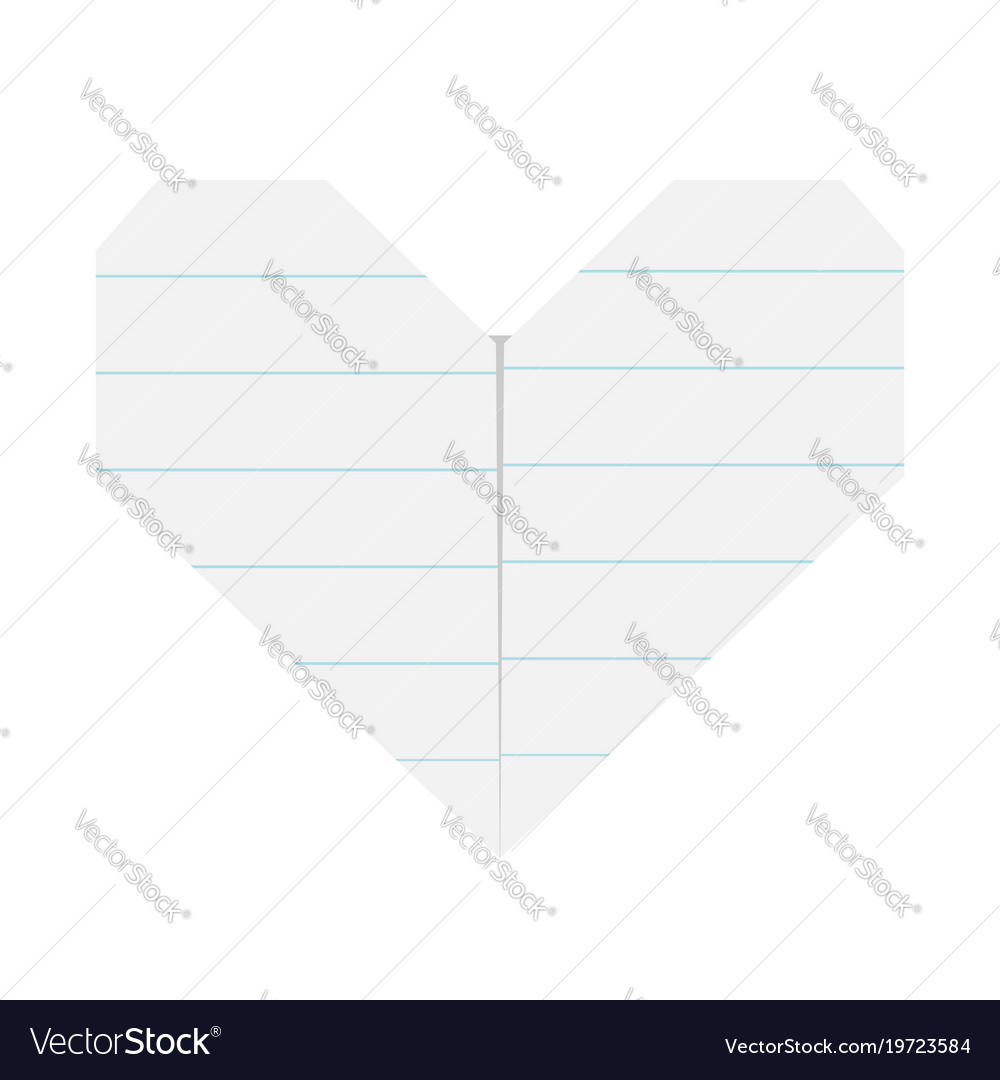 Notebook Line Paper Heart Icon Origami Handmade Vector Image