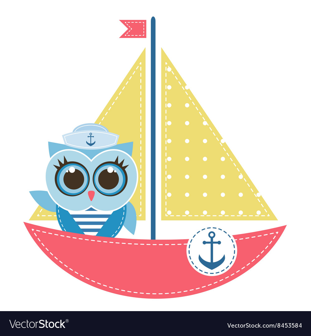 Owl sailor on the boat