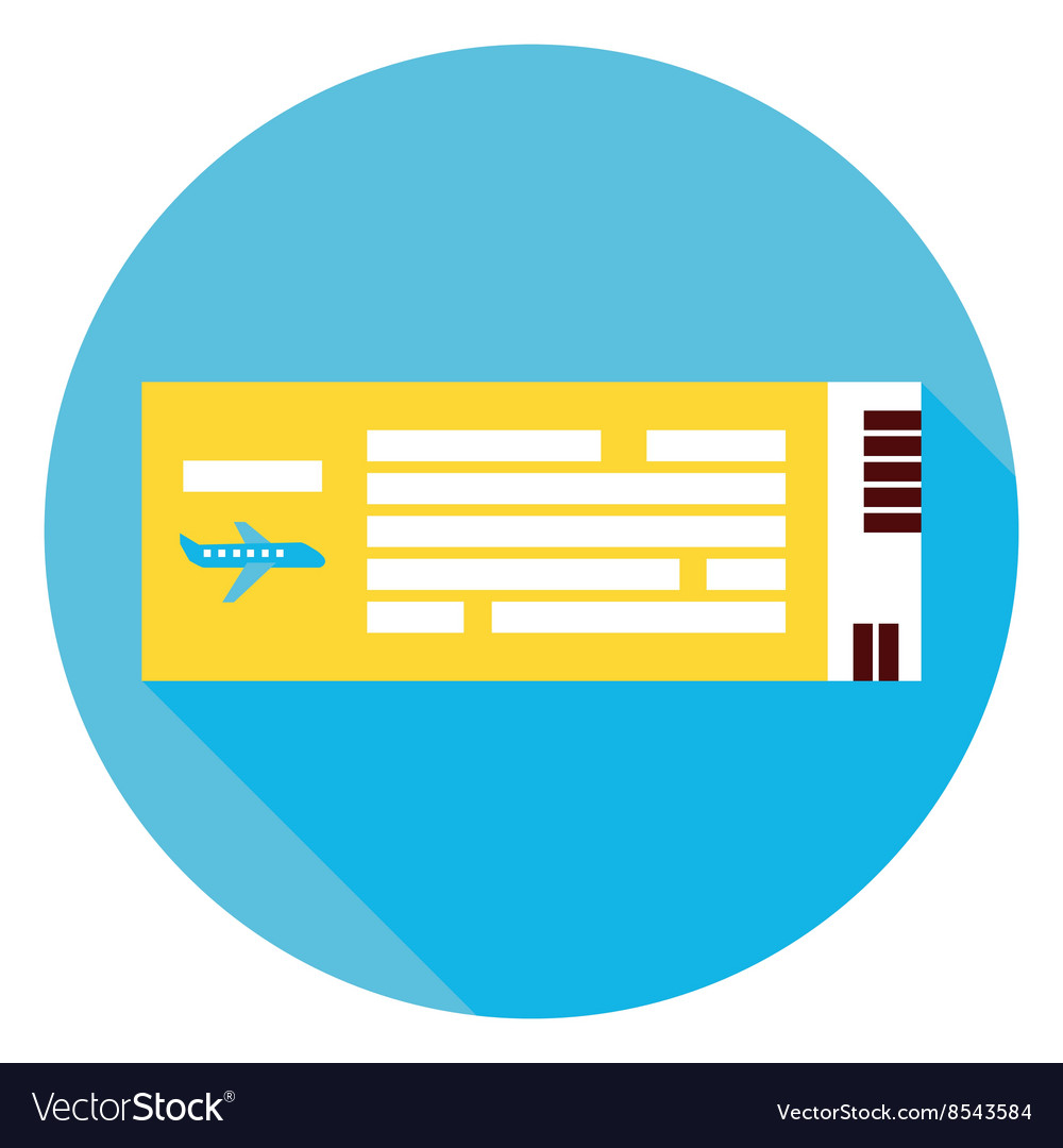 Plane Air Ticket Circle Icon Vector Image