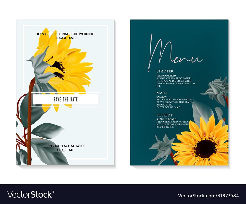 Sunflower watercolor wedding card summer nature