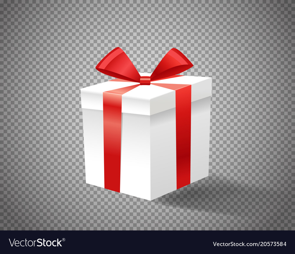 White Gift Box With Red Ribbon On Transparent Vector Image