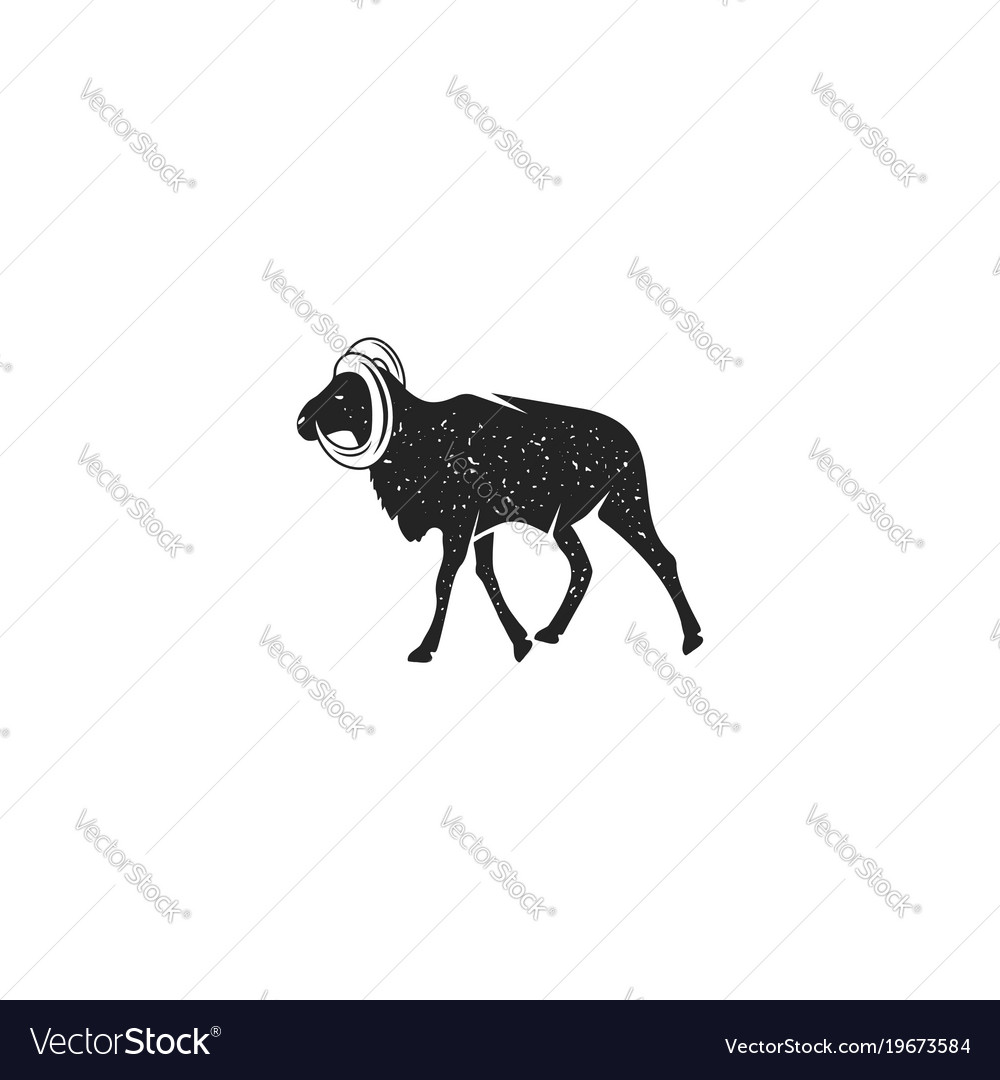 Wild goat silhouette shape vintage hand drawn