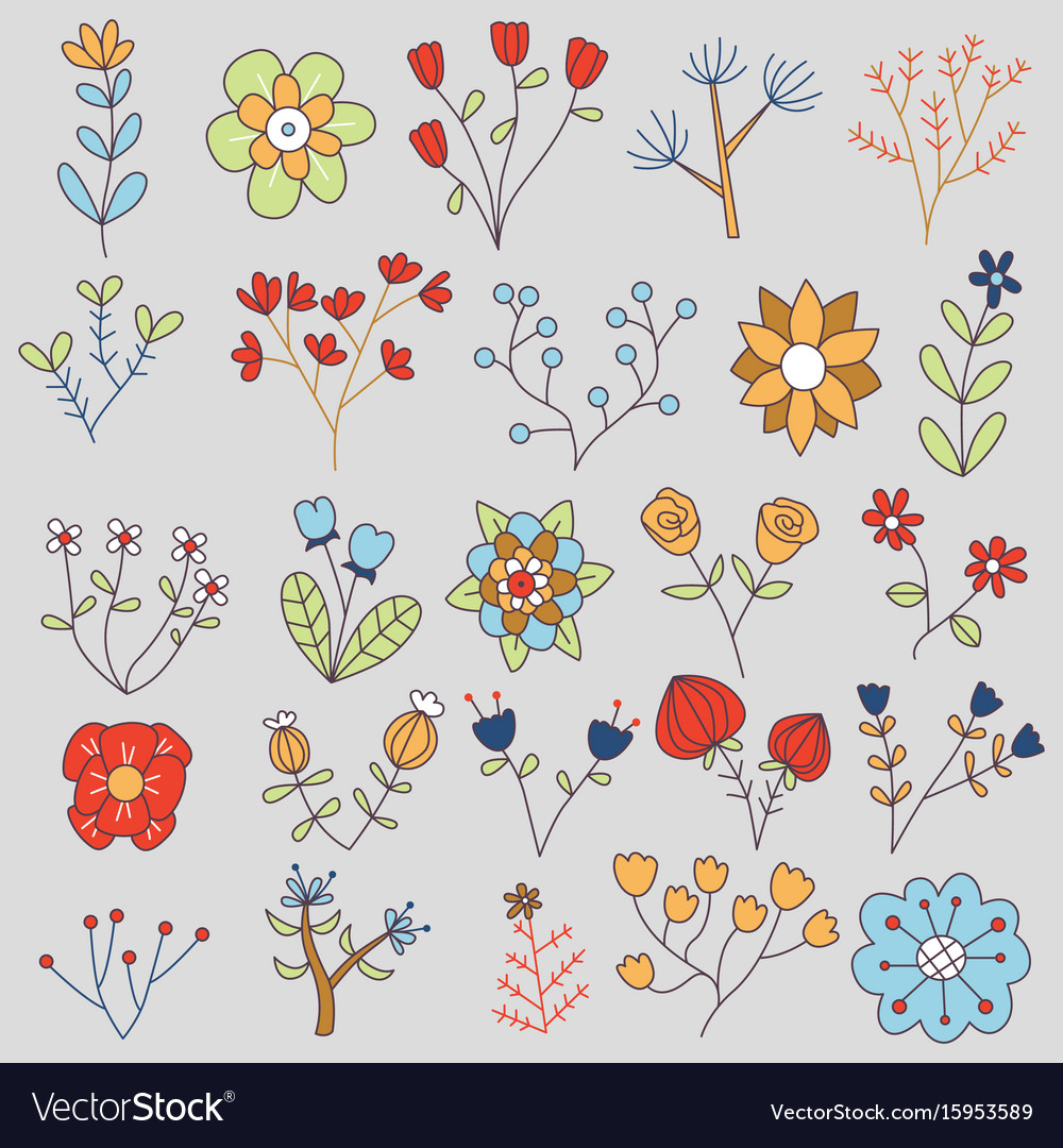 20 isolated flowers doodle set