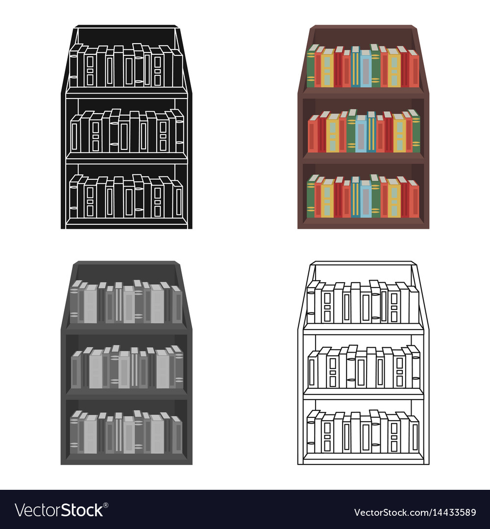 Bookcase Icon In Cartoon Style Isolated On White