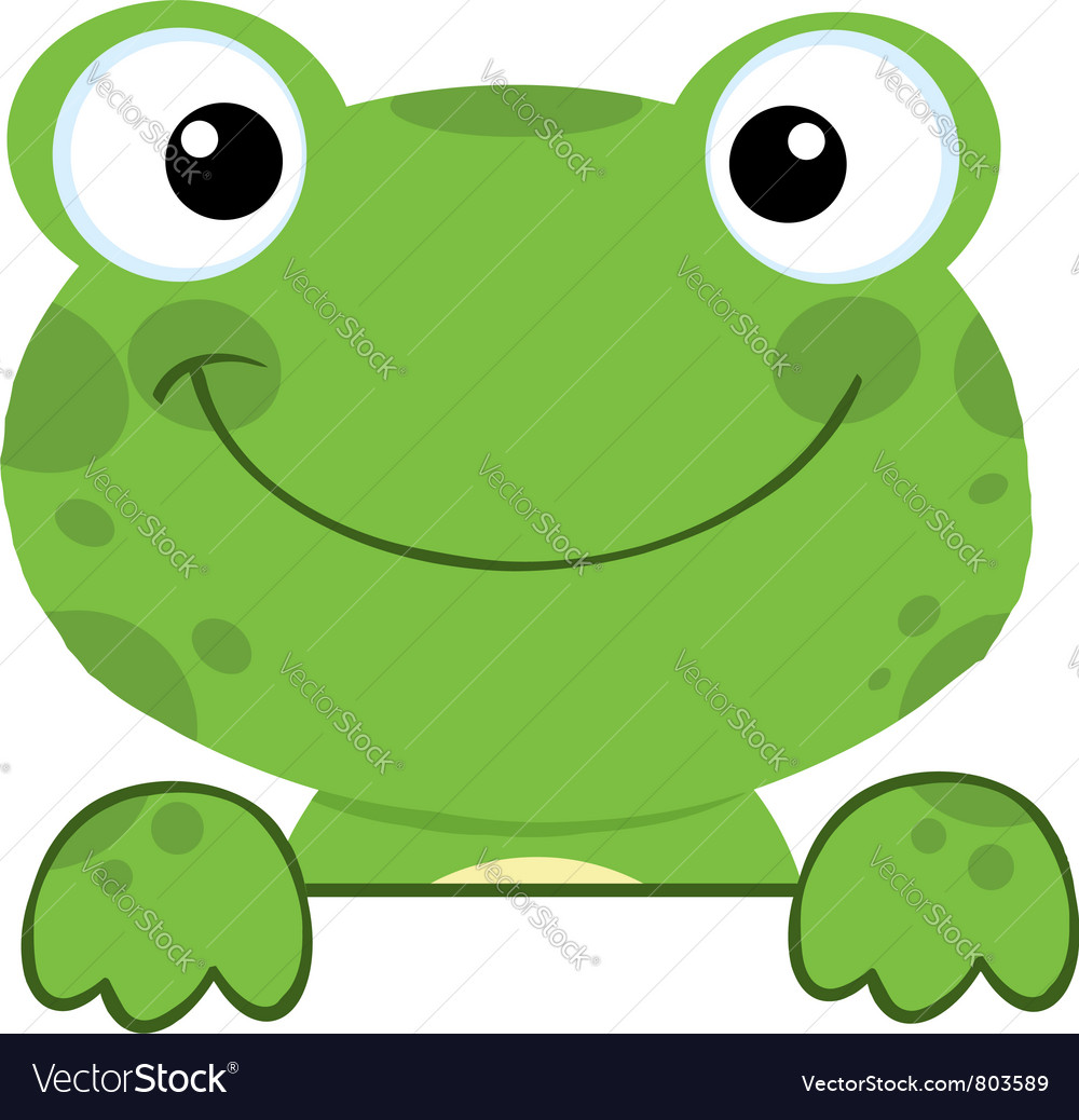 Cute Frog Smiling Over A Sign Board vector image
