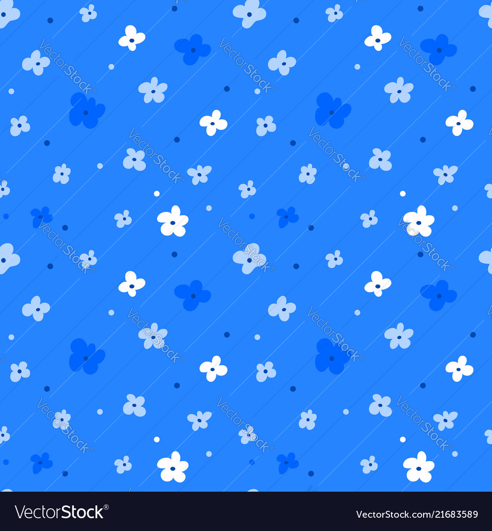 Floral seamless pattern with white flowers on blue