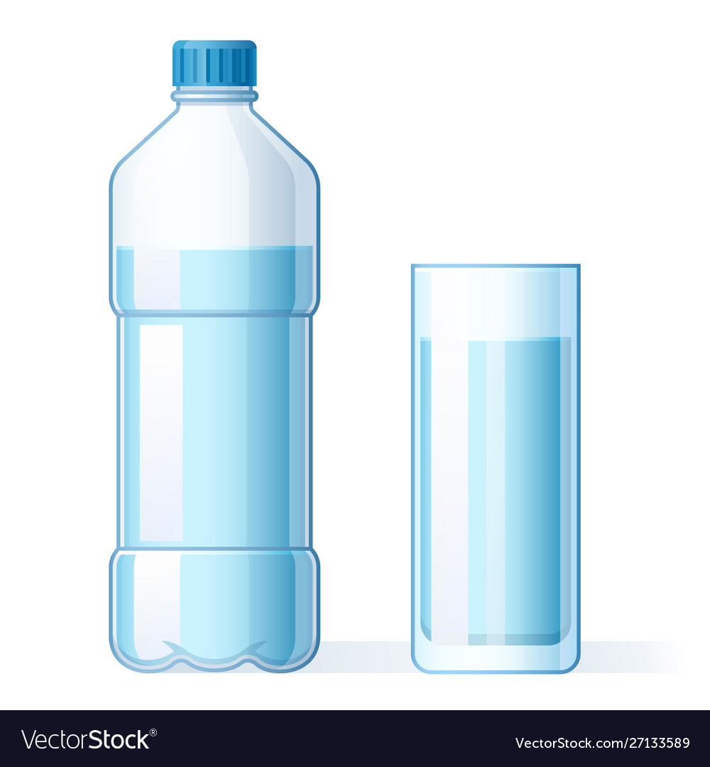 Glass water and plastic bottle hydration
