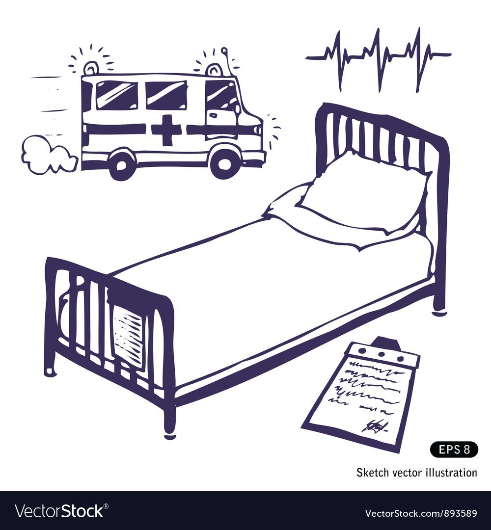 Hospital bed and ambulance vector image