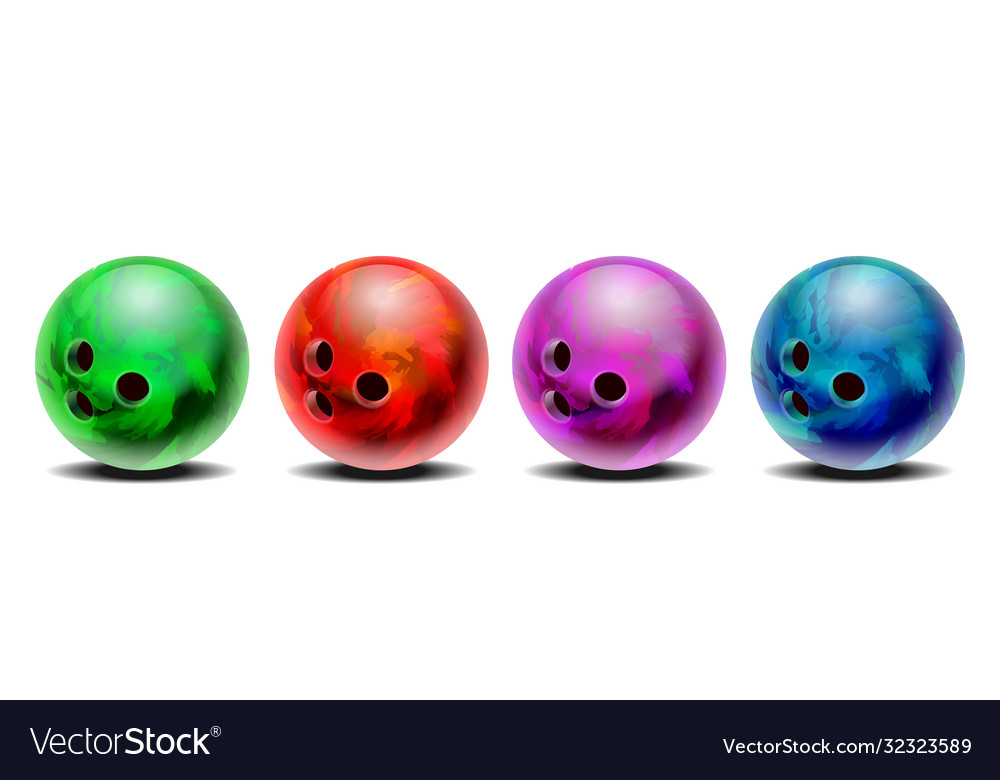 Realistic colorful 3d purple blue red green