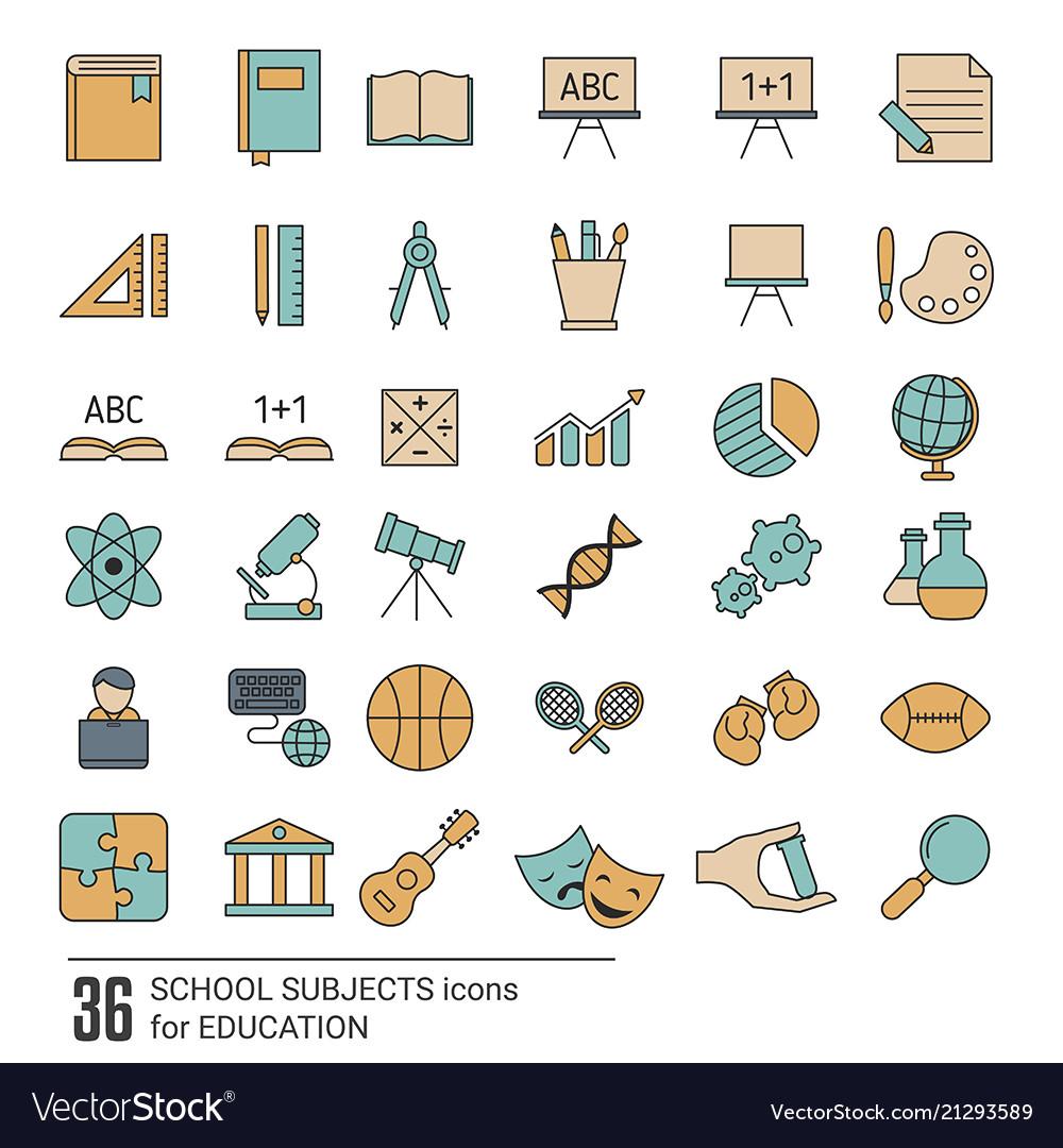 school subjects icon set school subjects icon set vector image
