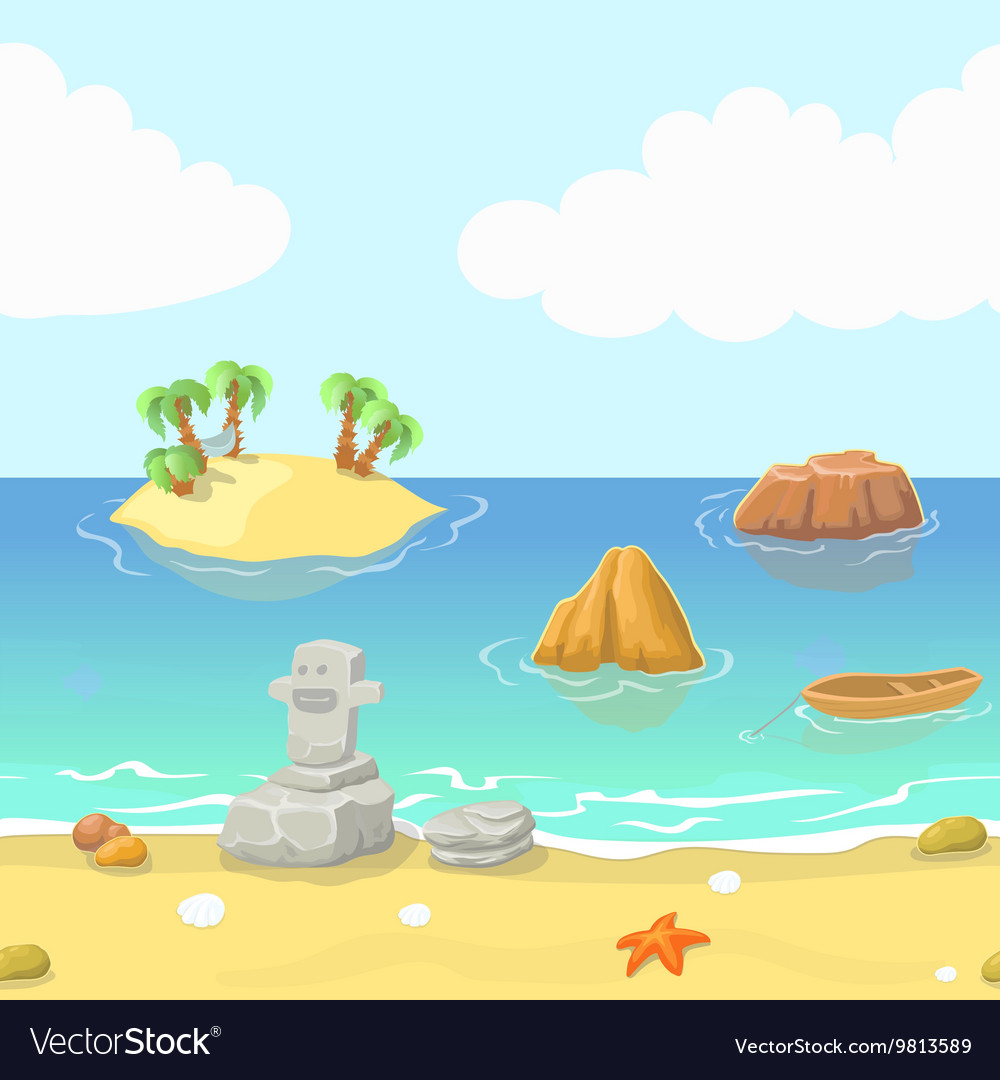 Seamless Cartoon Beach Landscape With Island Vector Image