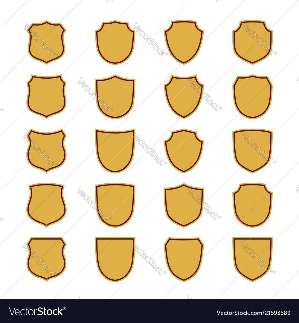 Shield shape gold icons set simple flat logo on