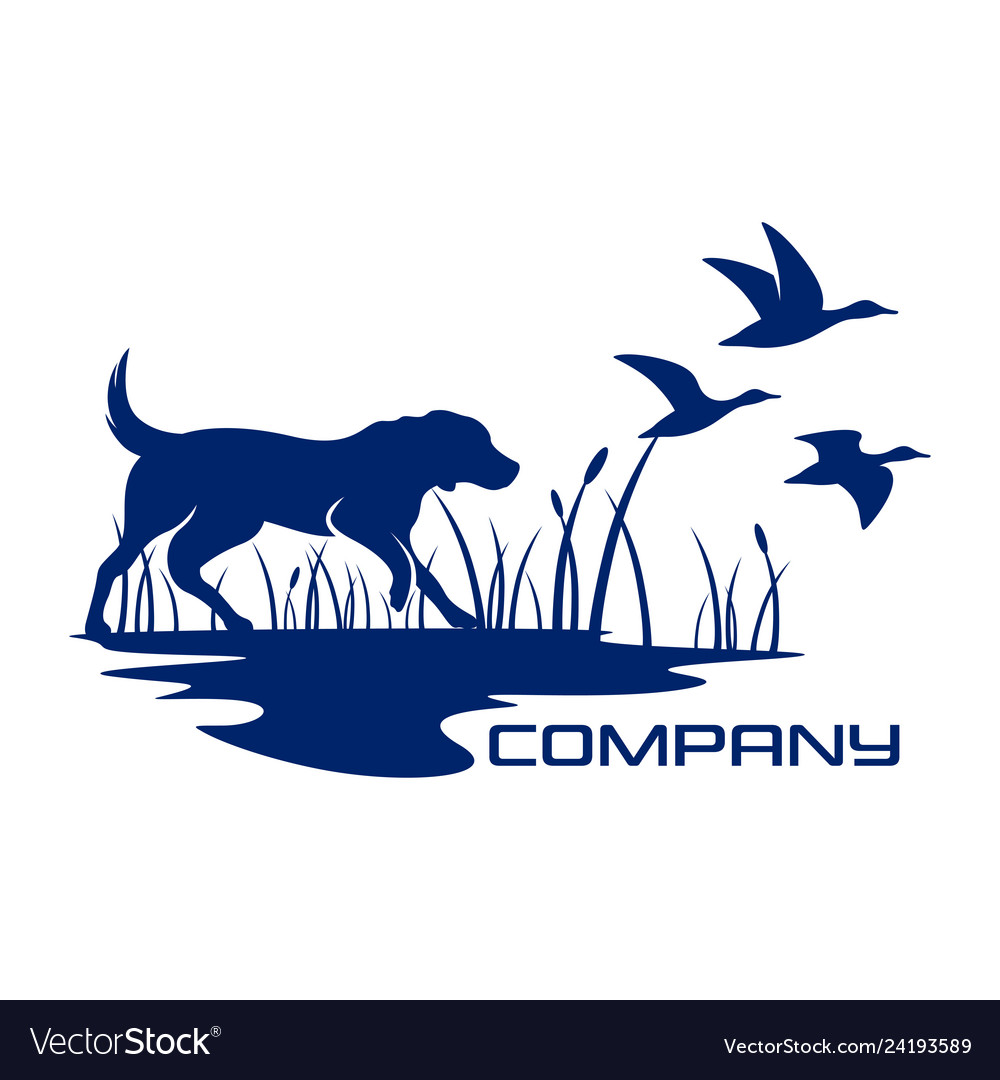 Silhouette dog hunting logo