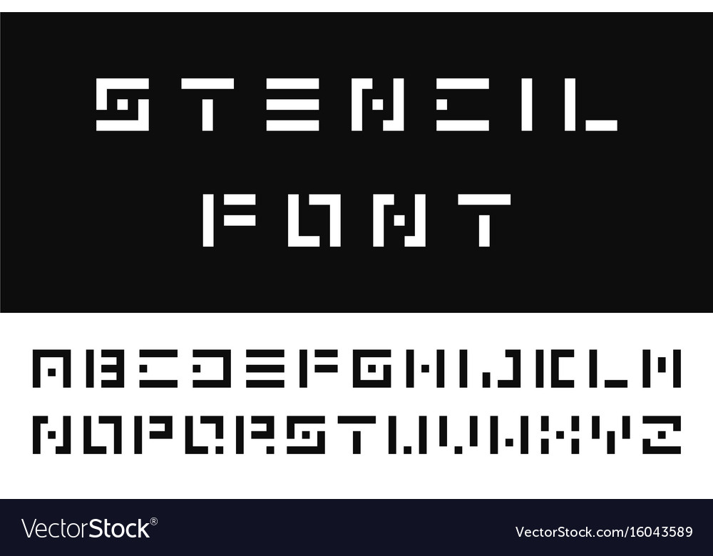 Simple Stencil Font English Alphabet Vector Image