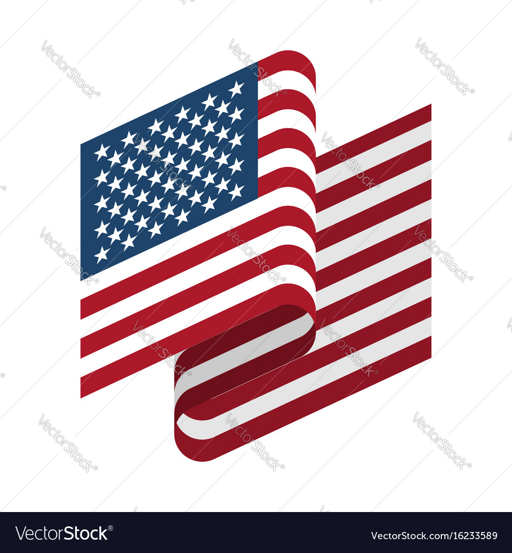 Usa flag isolated america ribbon banner state