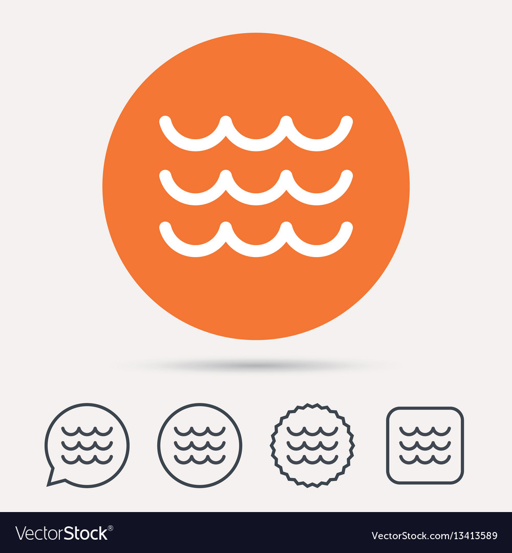 Wave icon water stream sign