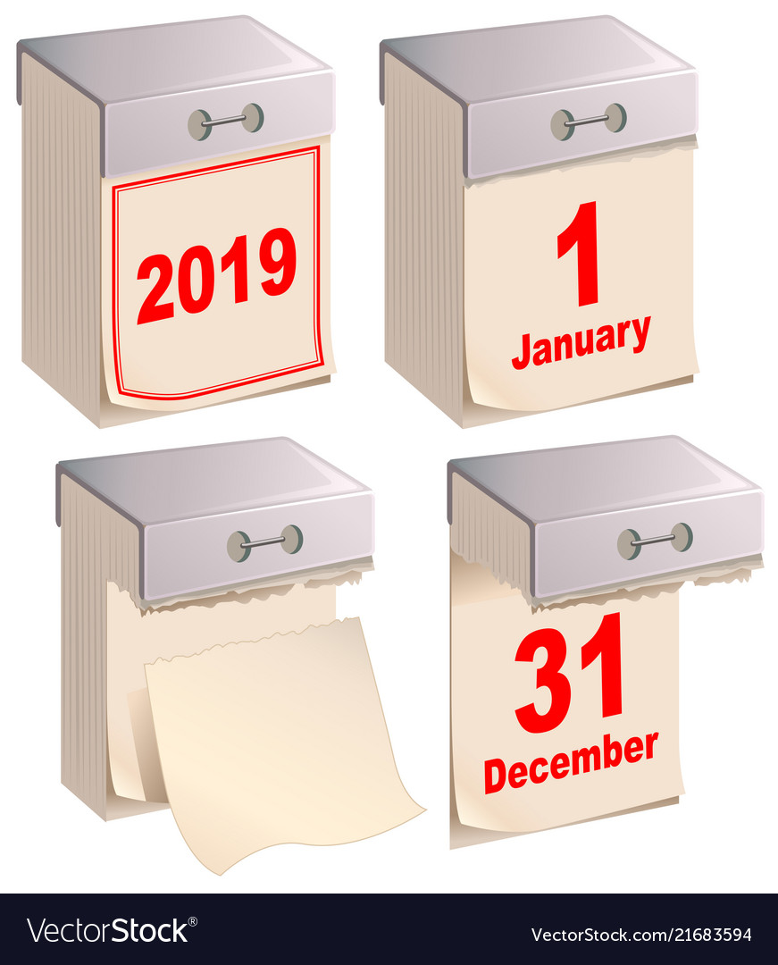 2019 set new and old tear off calendar january 1