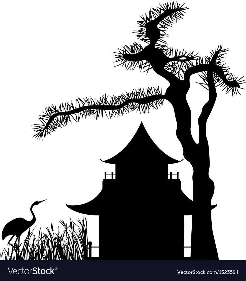 Asian house under a pine tree silhouette