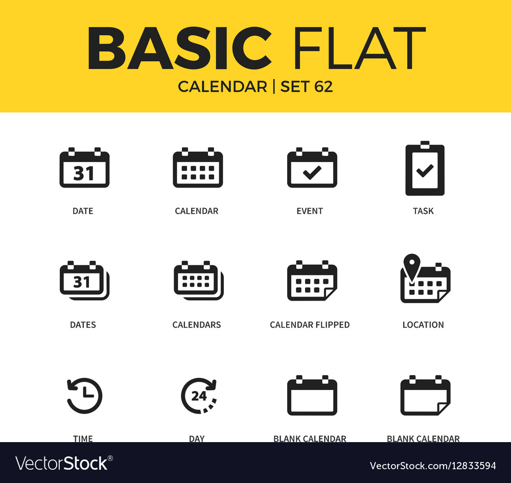 Basic set of Calendar icons vector image