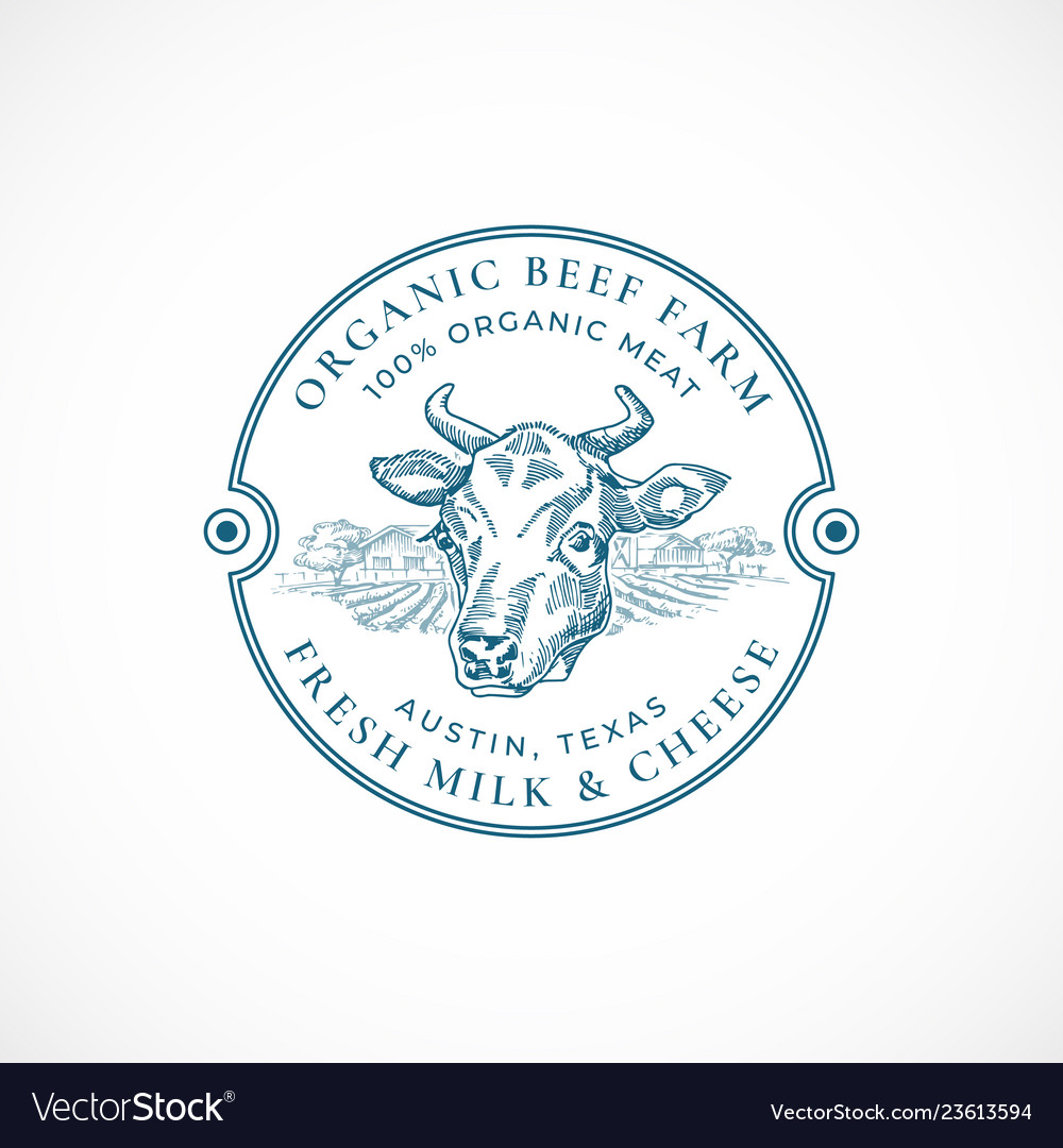Beef and milk farm badge or logo template hand