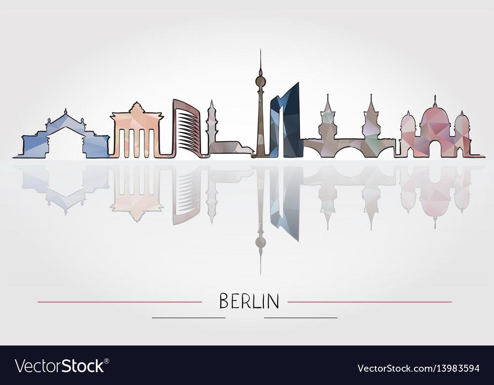 Berlin skyline detailed silhouette