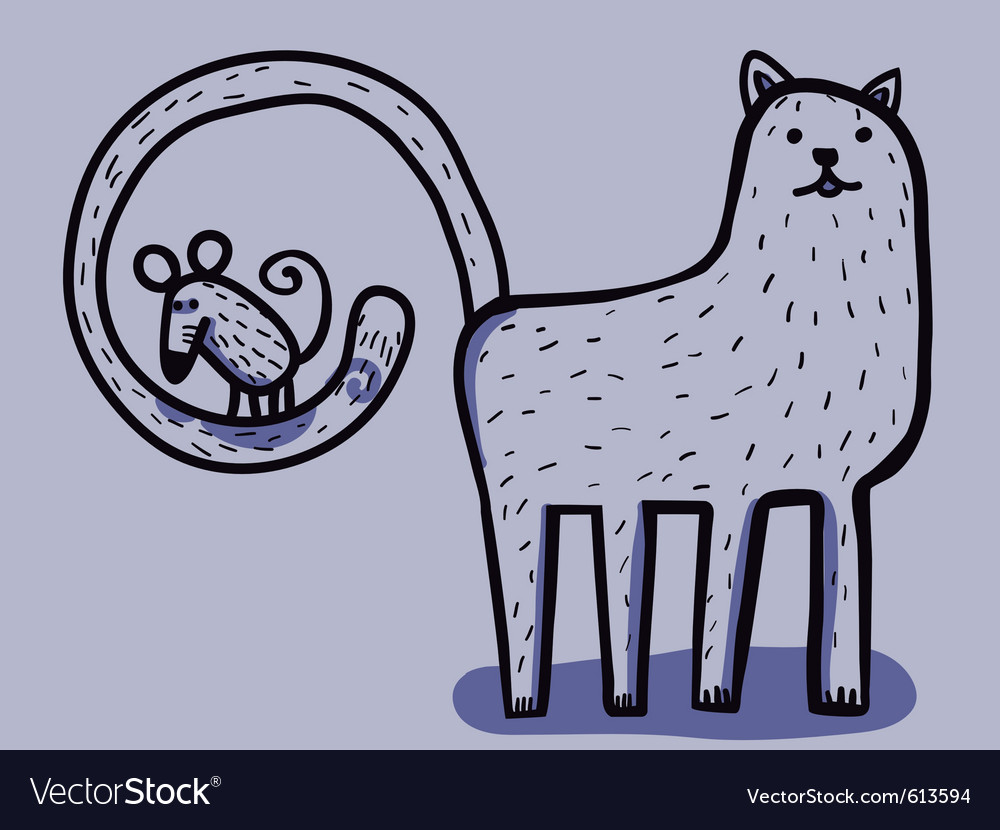 Cat with mouse in tail vector image