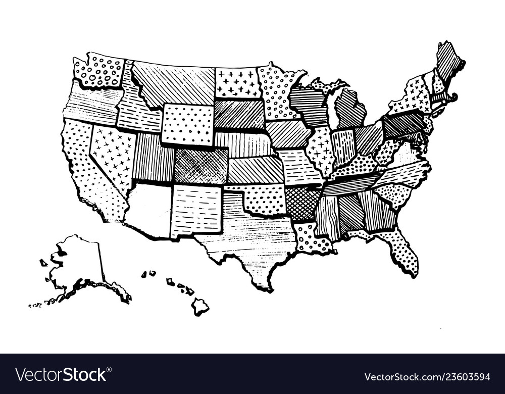 drawings of the united states map Drawing art map united states america funny Vector Image