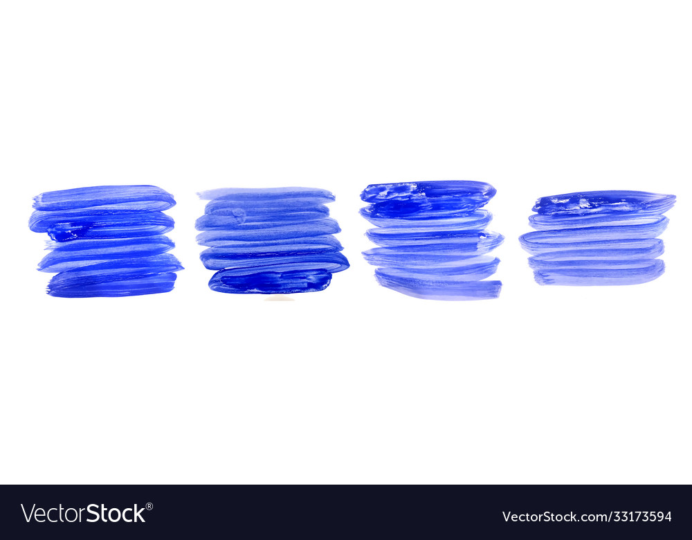 Hand painted watercolor brush stroke set in blue