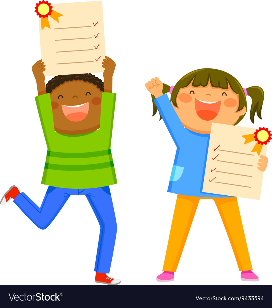 Kids with report cards vector image