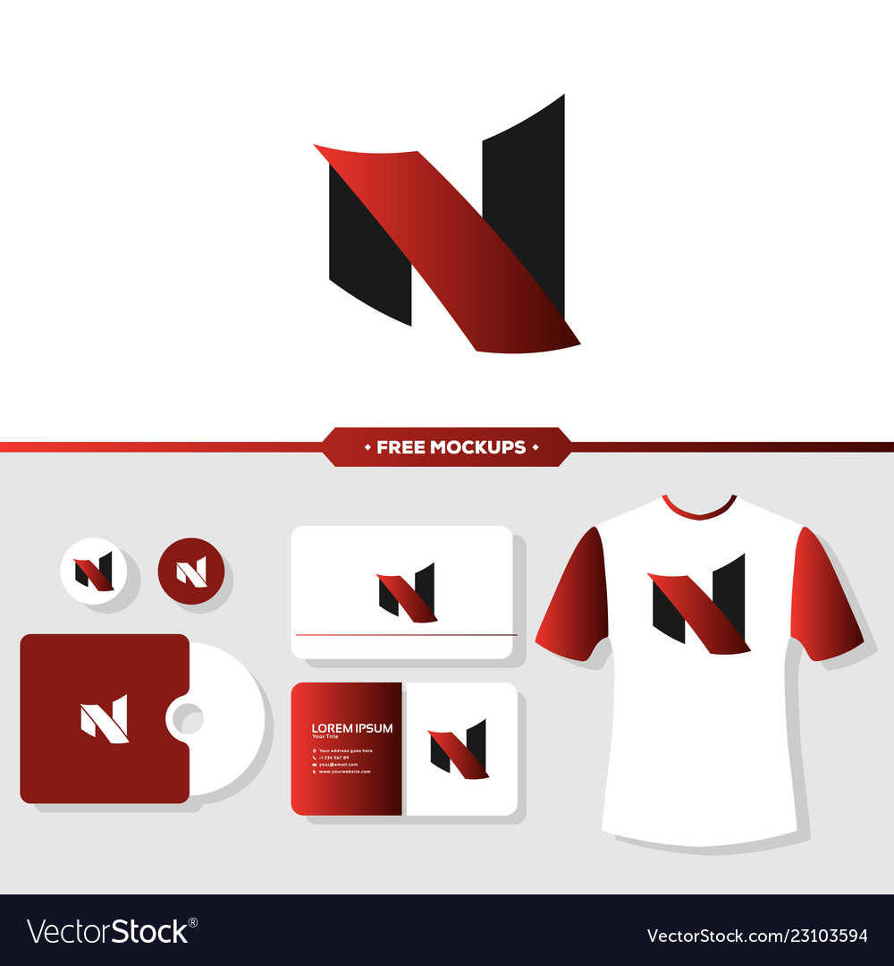 Letter n logo branding with stationery mockup