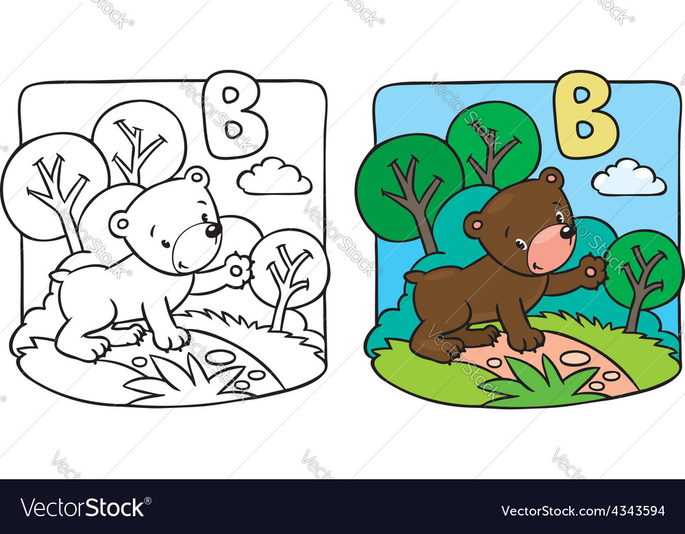 - Little Teddy Bear Coloring Book Alphabet B Vector Image