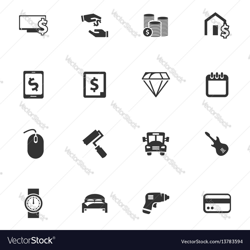 Pawnshop icons set vector image