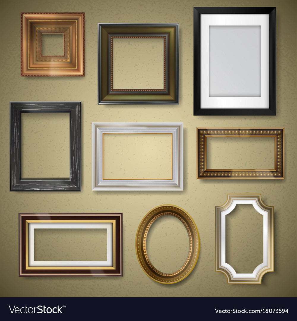 Retro vintage art photo picture frames Royalty Free Vector