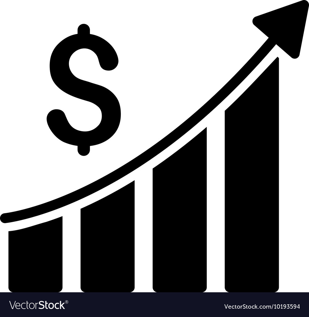 sales growth bar chart flat icon royalty free vector image